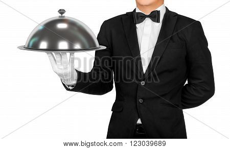 Waiter holding empty silver tray isolated on white background
