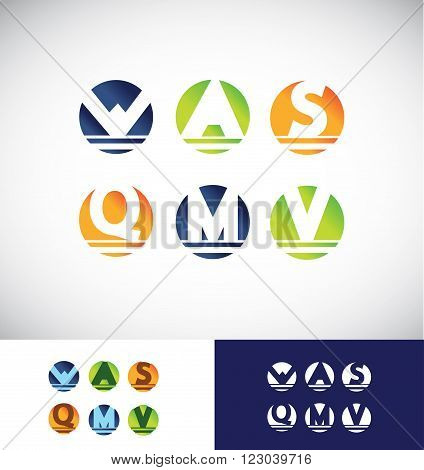 Vector company logo icon element template sphere 3d circle colors alphabet letter set orange blue green