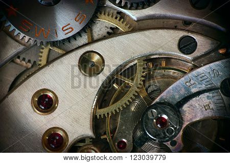 Pocket watch inside structure swiss made gear wheel