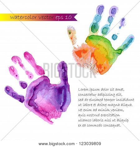 colored watercolor print of two hands vector