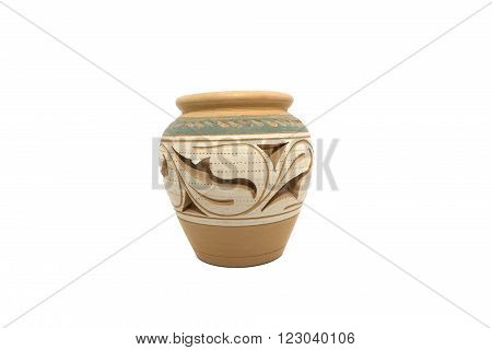 Color photo of an old ceramic pot on isolated