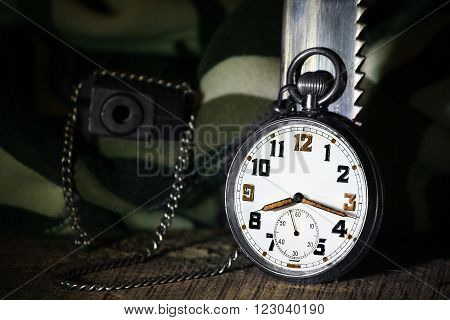 Pocket army watch with gun and knife