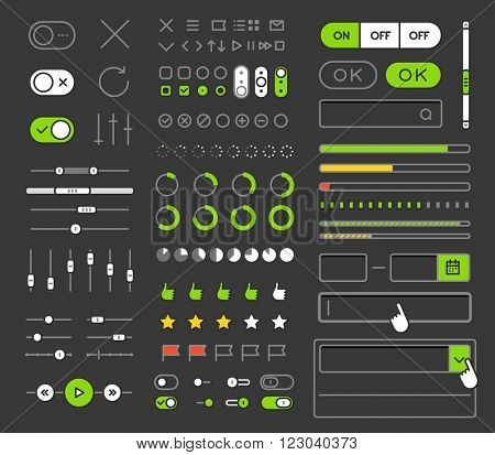 Different style trendy interface vector elements and pictograms collection