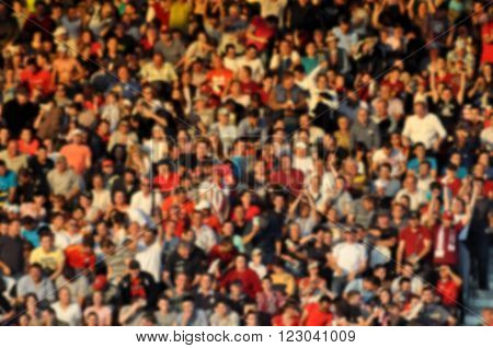 Blurred Crowd Of Spectators In A Stadium