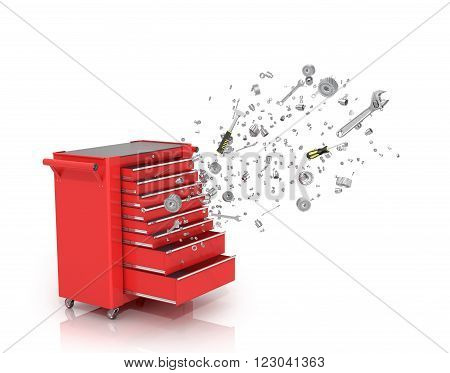 Red tool box from which emerge the tools and parts isolated white background.