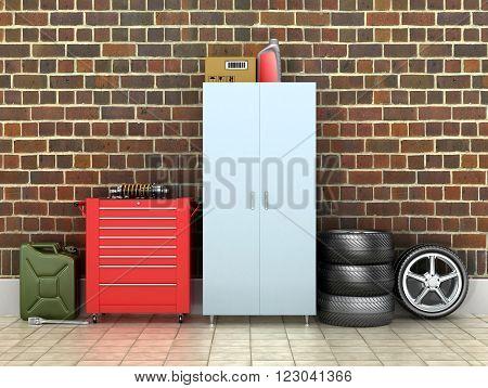 Interior brick garage with car wheels .