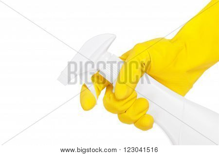 hand with sprayer isolated on a white background