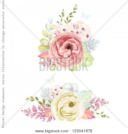 Decorative holiday ornaments of flowers ranunculus, leaves and branches, floral vector illustration in vintage watercolor style with silhouette butterflies.