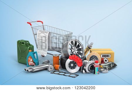 Concept of auto parts shopping. Many auto parts near shopping trolley on a blue background. Automotive basket shop.
