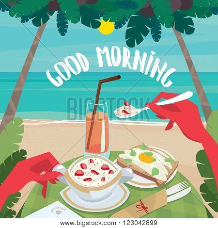 Tanned man eating muesli with strawberries and fried egg with bread on the beach. First-person view - English breakfast or lunch concept