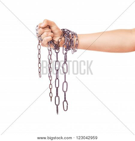 The hands are chains isolated on a white background