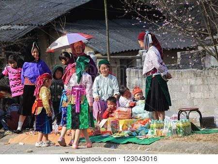 HA GIANG, VIETNAM - FEB 7, 2014: Hmong minority people going out on a traditional holiday called