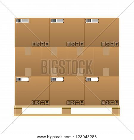 closed brown carton delivery boxes  with fragile signs and barcode on wooden pallet. vector illustration in flat design isolated on white background