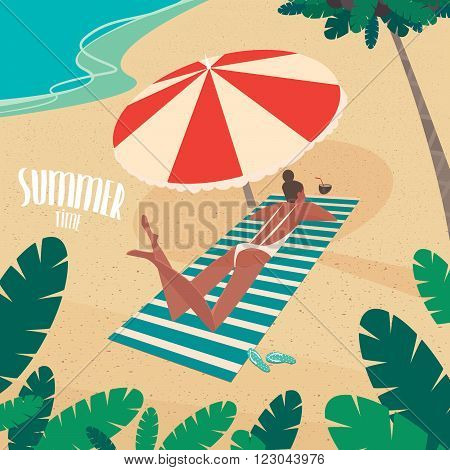 Nice girl in white swimsuit sunbathing on striped beach mat under a colorful parasol on the beach - Passive vacation or relaxation concept