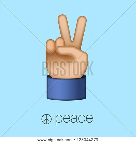 Peace sign, world peace day, hand showing two fingers, vector illustration.