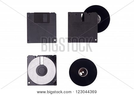 Damaged floppy disc on a white background