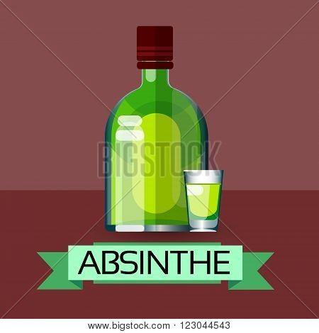 Absinthe Bottle Alcohol Drink Icon Flat Vector Illustration