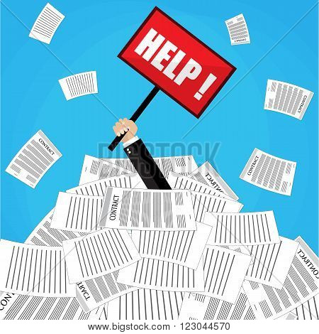 Stressed cartoon businessman in pile of office papers and documents with help sign. Stress at work. Overworked. Vector illustration in flat design on blue background.