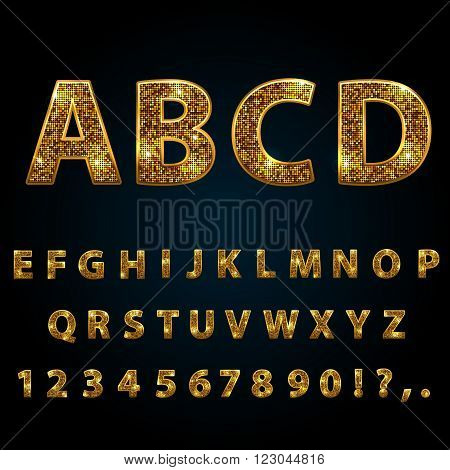 Golden sparkle glitter rhinestone alphabet letters numbers and signs currency