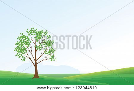 green Landscape with trees and mountains - vector illustration