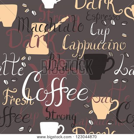 Seamless pattern with coffee pots and cups and ink painted coffee related words. Brush lettering text. Great for cafe, bars, tea ads, wallpaper, wrapping paper.