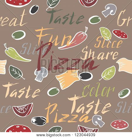 Seamless pattern with ink painted pizza related hand painted words and pizza toppings. Brush lettering text. Great for restaurant, cafe, bars, tea ads, wallpaper, wrapping paper.