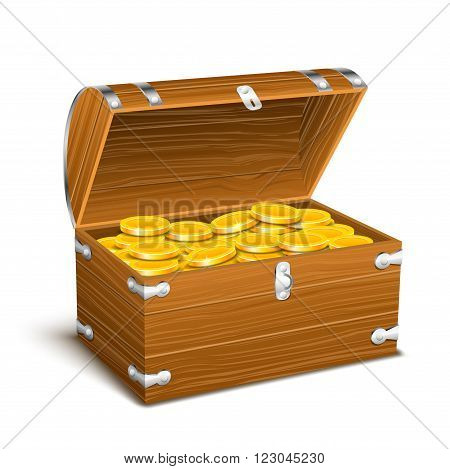 trunk chest full of gold coins treasures