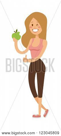 Vegetarian people healthy diet person girl and health nutrition lifestyle vegetarian people. Organic vegetable. Woman vegetarian people diet concept portrait female model hold green salad vector.