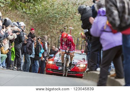 Conflans-Sainte-HonorineFrance-March 62016: The Russian cyclist Ilnur Zakarin of Katusha Team riding during the prologue stage of Paris-Nice 2016.