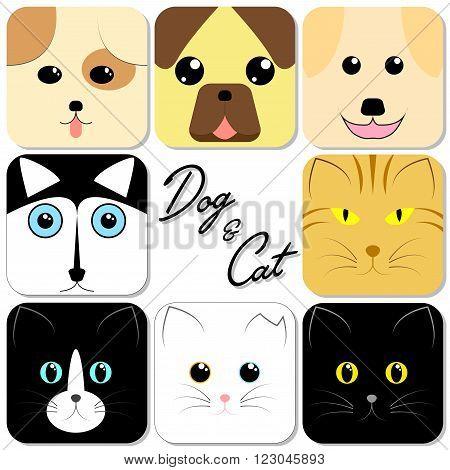 Cute Animal Face Dog & Cat in Recangle Shape Vector Illustration
