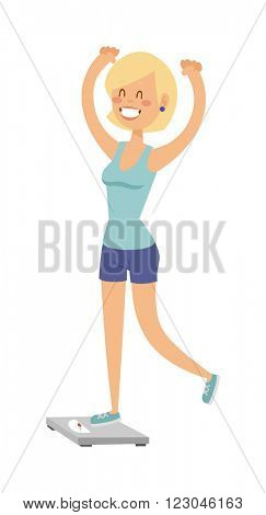 Girl on scales figure lifestyle care and pretty girl on scales. Girl on scales success fit measurement. Adult attractive shape fitness woman. Beautiful slim girl on scales fitness healthy body vector