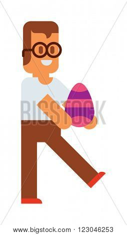 Easter kids happiness costume tradition and easter kids walking. Easter laughing sunny traditional funny kids with eggs. Cute little Easter kids happy child wearing colorful egg vector.