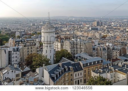 Rooftop and aerial view from Sacre Coeur Basilica in Paris France.