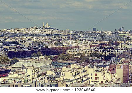 Vintage panorama and aerial view from Eiffel tower in Paris France