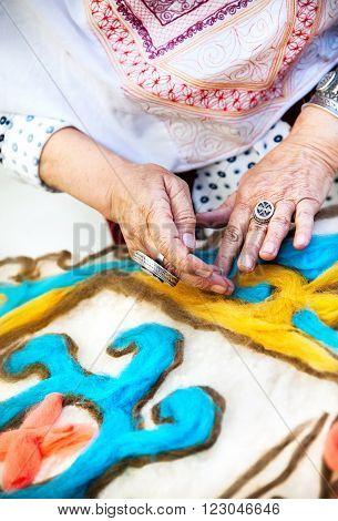 Kazakh Woman Making Pattern