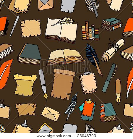 Seamless Hand Drawn Illustrations Pattern of Big Set Books and pen. Doodle vector illustration isolated on brown background.