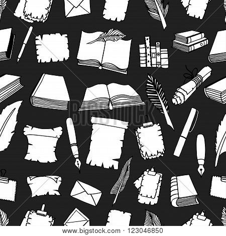 Seamless Hand Drawn Illustrations Pattern of Big Set Books and pen. Doodle vector illustration isolated on black background.