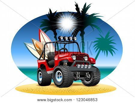 Vector cartoon 4x4 car on beach. Available EPS-10 vector format separated by groups and layers for easy edit