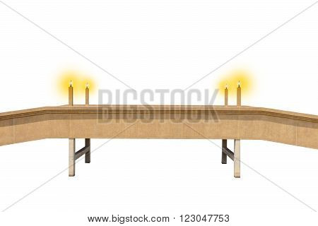 Isolated small bridge with shining lamp posts on the white background