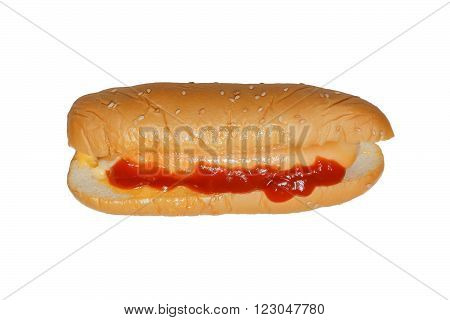 Isolated cheese chicken hotdog with cocktail sauce and ketchup on white background
