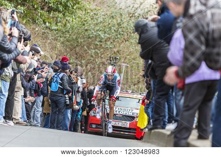 Conflans-Sainte-Honorine France-March 62016: The French cyclist Tony Gallopin of Lotto-Soudal Team riding during the prologue stage of Paris-Nice 2016.