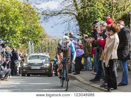 Conflans-Sainte-Honorine France-March 62016: The French cyclist Alexis Gougeard of AG2R La Mondiale Team riding during the prologue stage of Paris-Nice 2016.