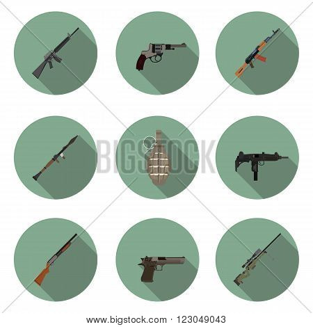 flat icons set weapons in vector format eps10