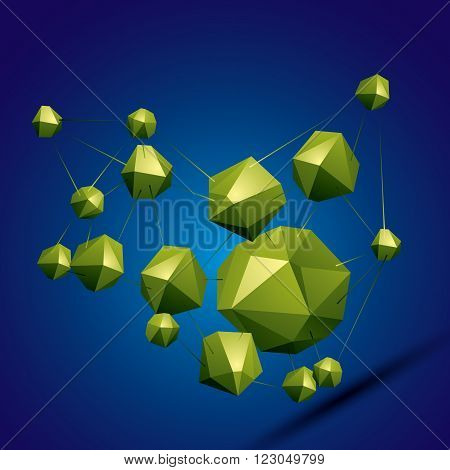 3D Vector Abstract Design Object, Polygonal Complicated Figures. Colorful Three-dimensional Deformed