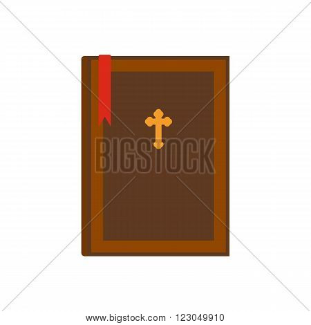 Bible book icon in flat style isolated on white background