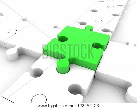 Puzzle pieces concept in white and green colors