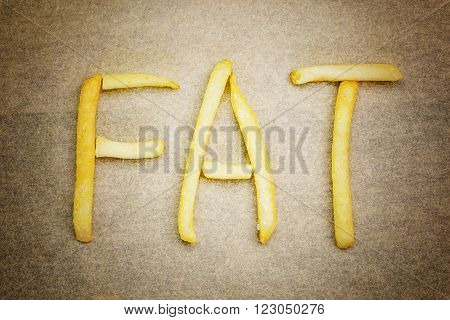 Health concept with french fries inscription FAT