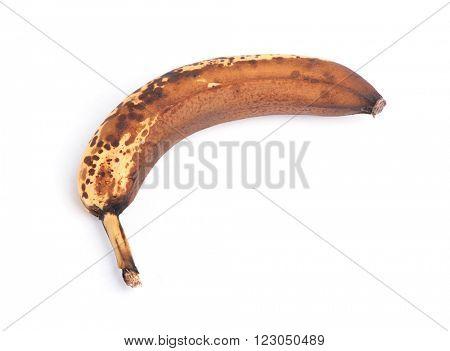 Over ripe banana isolated on white background