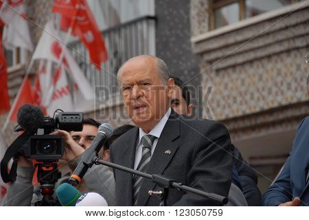 ANKARA/TURKEY-MARCH 8: Nationalist Movement Party-MHP's Leader Devlet Bahceli at the Mamak district meeting before Local Elections of Turkey. March 8, 2014-Ankara/Turkey