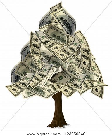 A graphic of a tree in a Christmas tree shape with $100 leaves